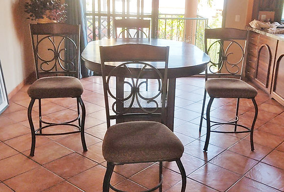 Bar Height Table, w/ Extension and 4 Chair/Stools