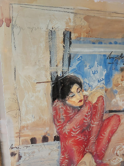 "Original Acrylic Artwork, Illegible artist, 35"" by 42"", signed"