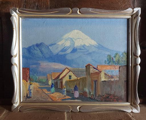 "Popocatépetl (#1), Mexican Artist ""MAYA"", 1940's-50's, Taxco, Gro."