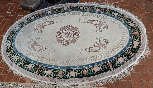 """Oval Silk Rug from China, 108"""" by 73"""""""