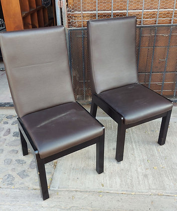 """Vinyl Covered Dining Chairs,  40"""" tall,  19 1/2"""" wide,  2 Available"""