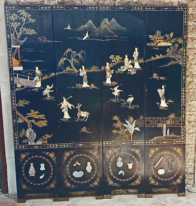 Antique Chinese Screen, Soapstone, 3 Dimensional Decorations