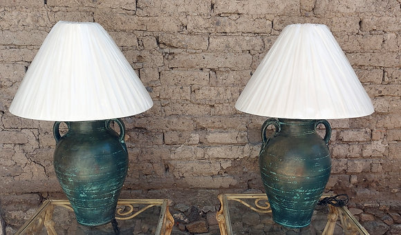 "Pr. Large Mexican Pottery, Table Lamps, 38"" tall"