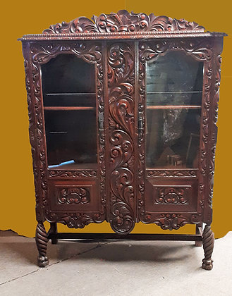 Mexican Carved Mahogany China Cabinet