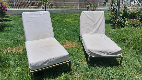 """Mexican, Iron Sun Lounges, cushion covers as-is, 60"""" long, 30"""" wide"""
