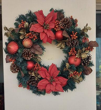 "2nd. Good Quality Christmas Wreath. 26"" diameter, Ex. Condition"