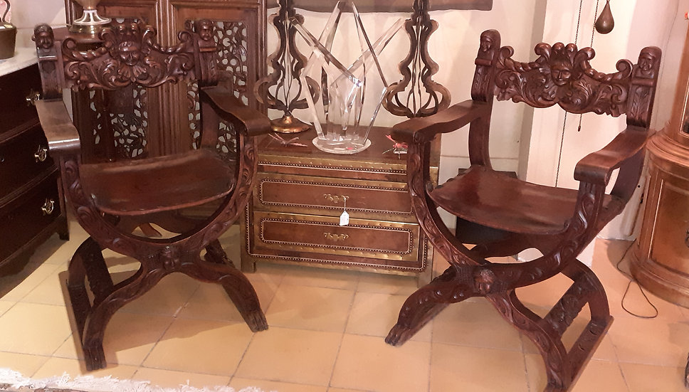 Pair of Mexican Savonarola Chairs