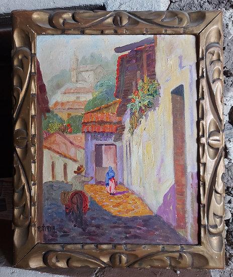 "Taxco  Street Scene, Mexican Artist ""R. MAYA"", 1940's-50's,"