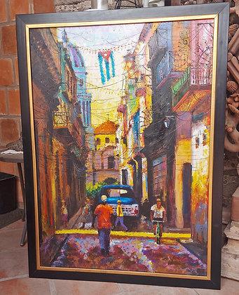 Modern Cuban School; Habana Street Scene, Colorful