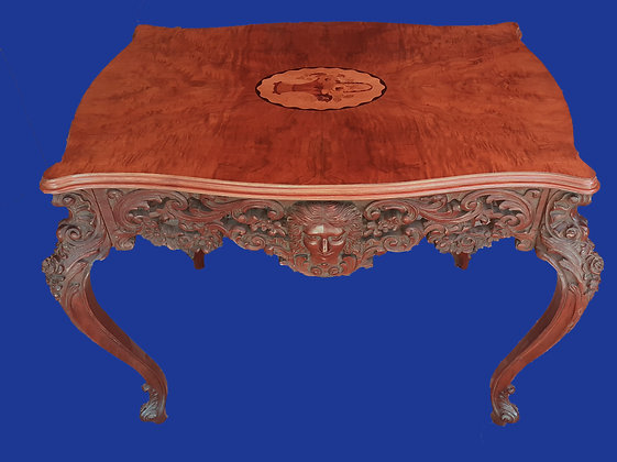 Figural Marquetry Parlor Table, Victorian Era