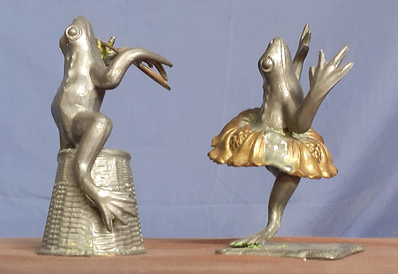 Cast Pewter Whimsical Frogs