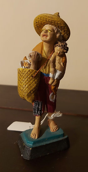 """Bread Seller w/ Child,  Mexican Tourist Pottery, 5"""" tall"""