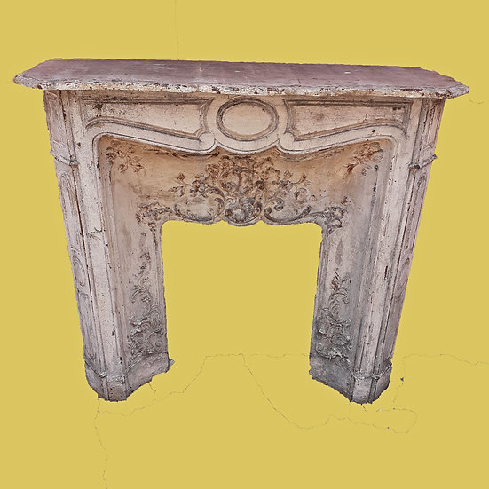 19th C. French Cast Iron Fireplace Frontispiece, One of a Pair