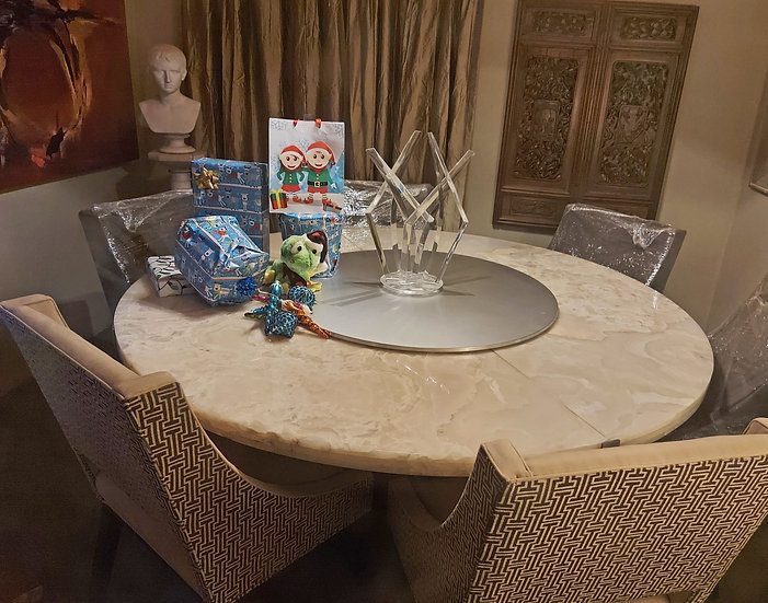 """High Point, N. C.; Round Dining Table, 78"""" dia. Onyx Top, Lazy Susan, 8  chairs"""