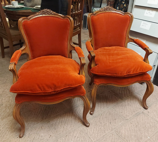 Pair Fine French Style Arm Chairs, Down Cushions