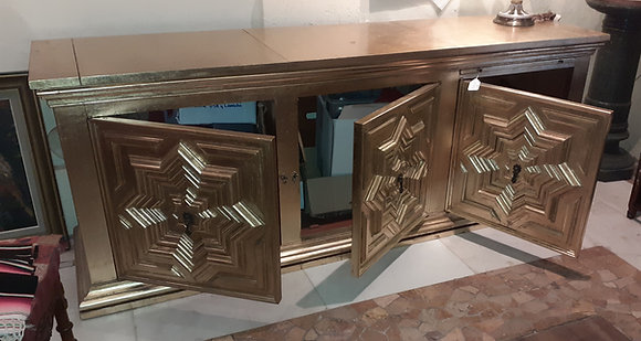 Gold Leaf, Vintage Mexican Credenza, formerly an Entertainment Center