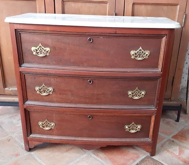 3 Door Dresser, Mahogany and Marble Top