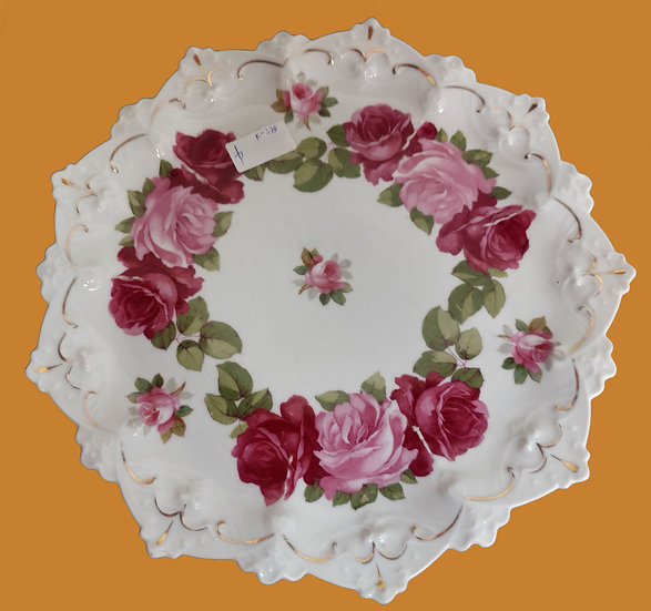 "Porcelain Serving Plate, 12"" diameter,  Hand Painted Roses, Austria"
