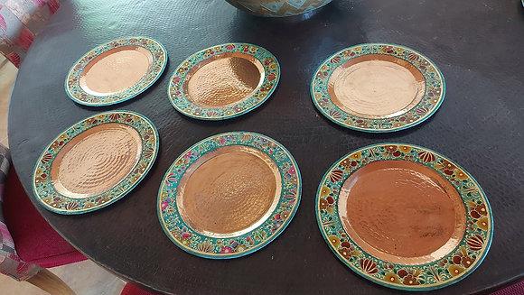 """6 x Enameled Copper Service Plates, 12"""" dia., Casa Felicitas, Santa Clara"""
