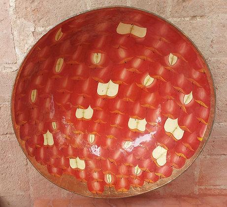 """Huge Enameled Copper Bowl, 22 1/4"""" dia. , Santa Clara del Cobre"""