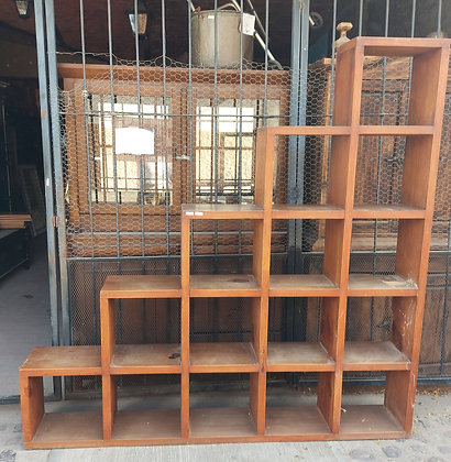 """Natural Wooden Step Shelf,  79"""" wide and tall,  As-Is"""