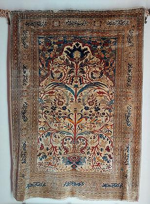 Early 19th C. Heriz Silk Prayer Carpet, Safron Dye, Flowering Tendrils