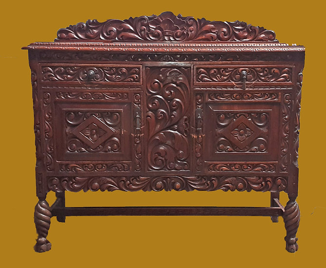 Mexican Carved Mahogany Buffet or Server