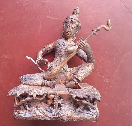 Sitarist Bronze Figure