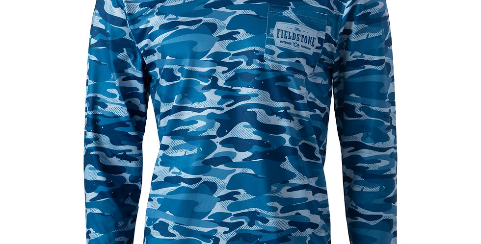 Dry-fit Pocketed Long Sleeve Blue Fishing Camo Tee