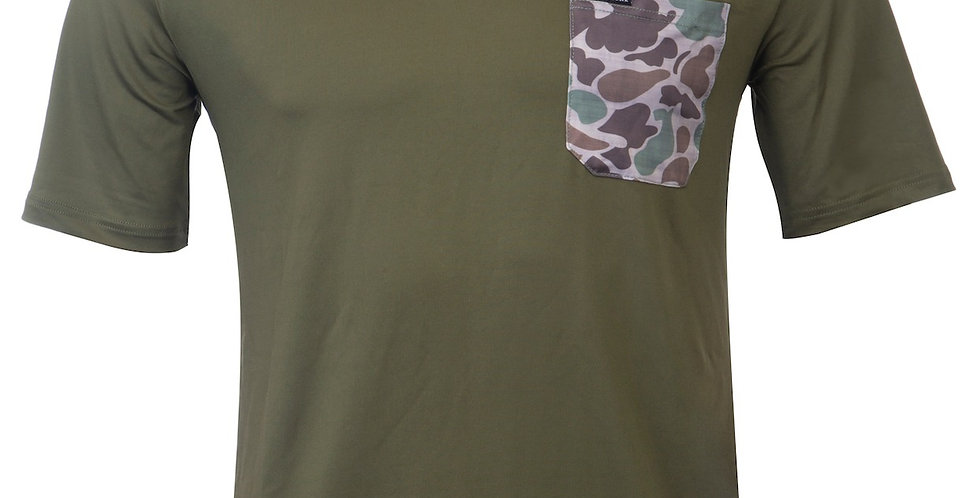 Dry-Fit Solid Tee w/ Camo Pocket