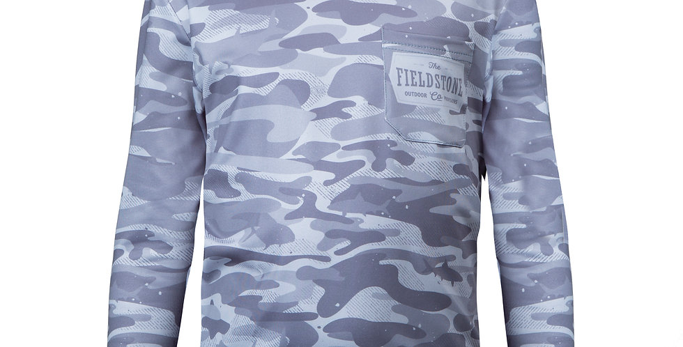 Dry-fit Pocketed Long Sleeve Grey Fishing Camo Tee