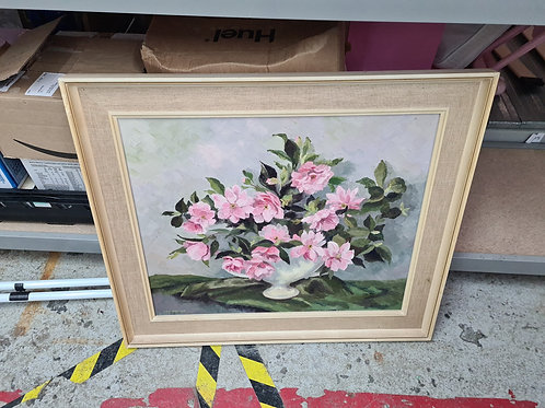 Pink flower display original painting  (MW)