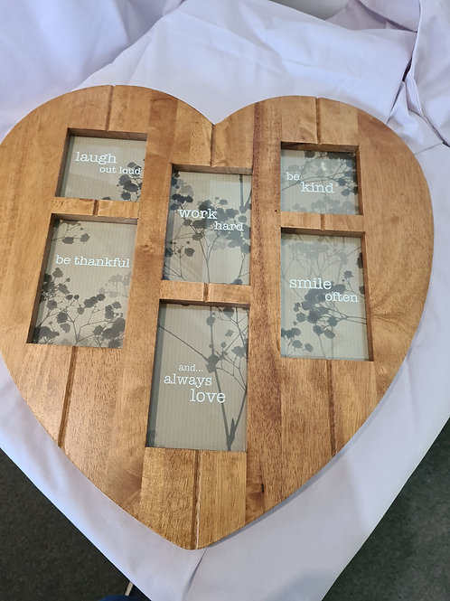 Heart shaped wooden photo frame