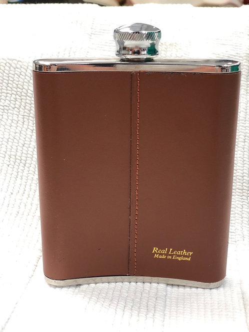 Real leather covered hip flask (F1)