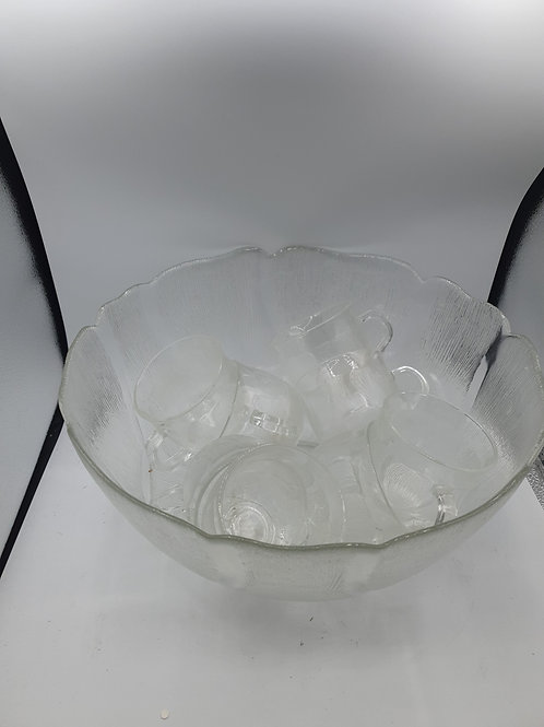 Glass punch bowl with 8 glasses (Misc)