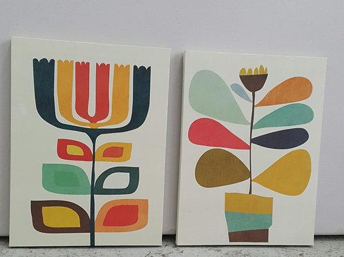 Orla Kiely style canvas x2 (B)