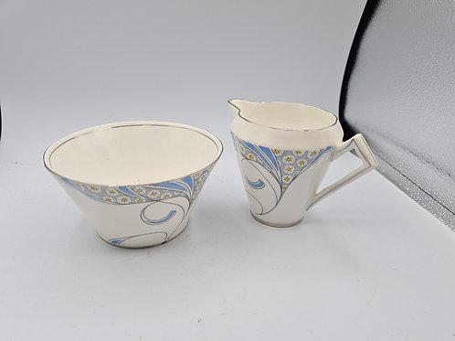 Salisbury bone China sugar bowl (repaired) and milk jug  (Y)