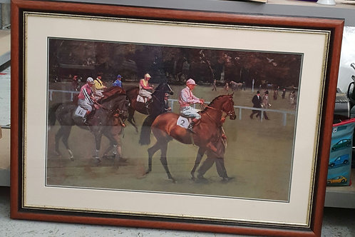 Framed horse racing print (Misc)