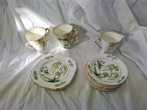 Pagoda China  (D1) as supplied to her majesty. 6 saucers, 4 tea cups, 3 side