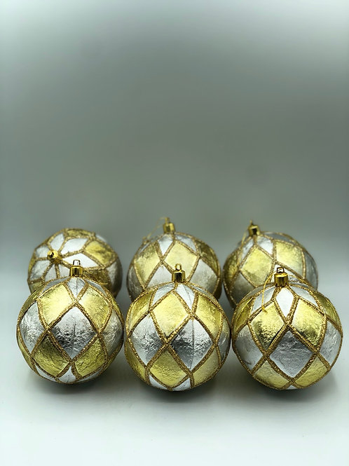 Set of 6 Gold and Silver Baubles (XMAS2)