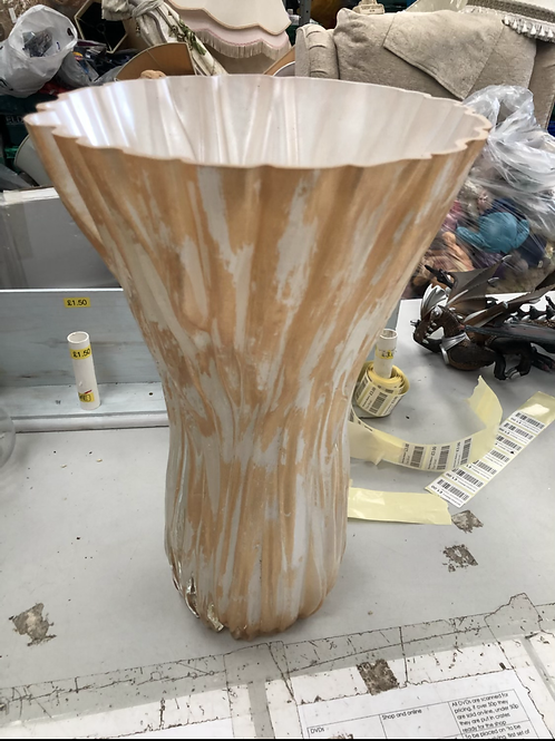 Large gold and white vase