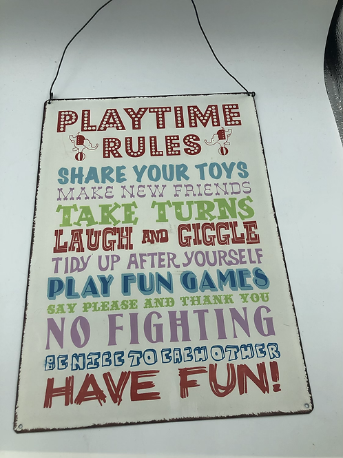 Playtime rules sign (E1)