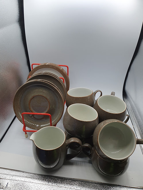 Brown denby coffee and side plate set (D2)