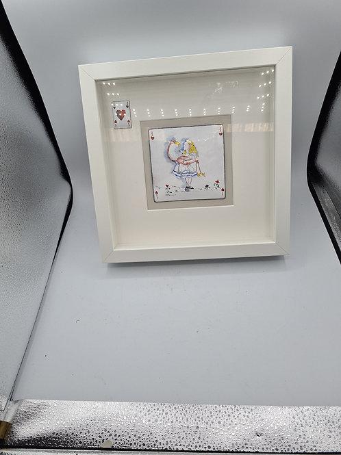 Alice in wonderland boxed frame with tile insert (E1)