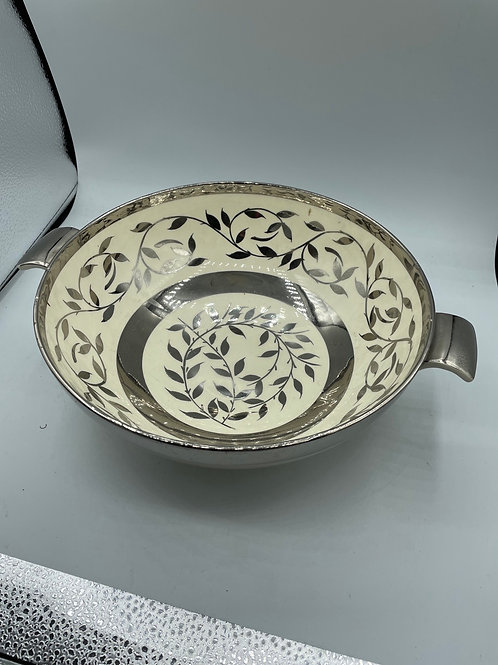 Hand painted old lustre silver bowl (R)