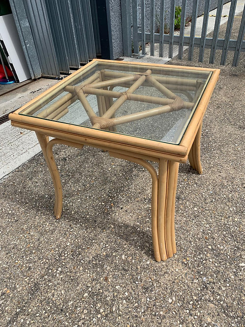 Glass and cane table