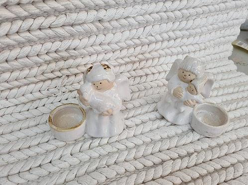 Pair of angel tealight holders (xmas7)