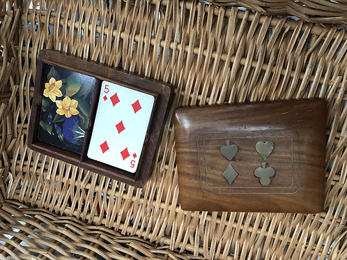 Vintage Cards in a Wooden Case (L)