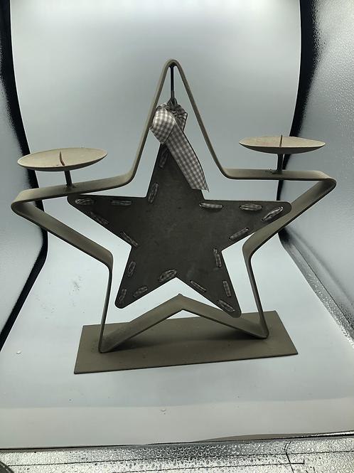 Tin star candle holder (C)