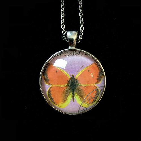 Schmetterling (lila, orange, gelb; gestempelt)